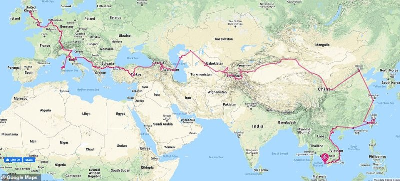 So far Gabriella and Chris have spent just over 18 months cycling from the UK to Vietnam. Their route is mapped out above