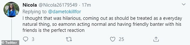 Defending Eamonn:Yet not all viewers were outraged and some fans defended Eamonn, insisting that he was just trying to 'lighten the mood'