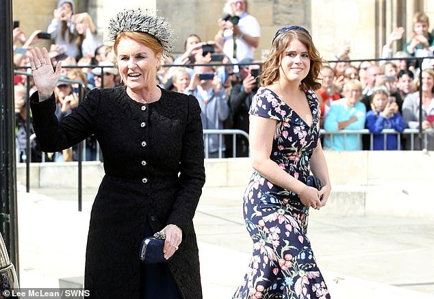 Sarah, Duchess of York, with Princess Eugenie at the wedding of Ellie Goulding and Caspar Jopling in August last year