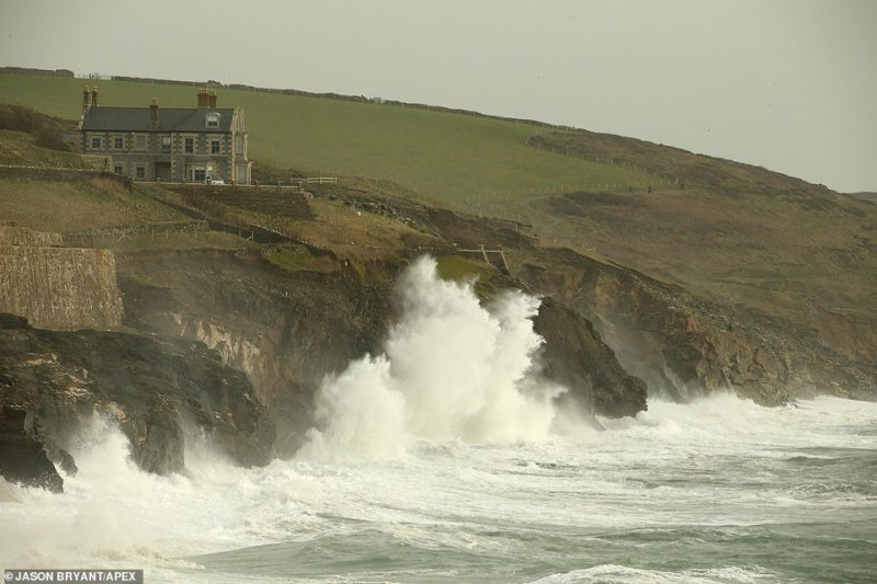 Storm Ciara has landed on Britain's shores and is set to pound the nation with strong gales and heavy rain. Pictured: Waves battered the Cornish coastline at Porthleven this afternoon as winds picked up the pace in the South-West of the country