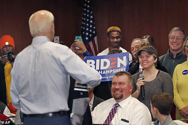 In February, Biden called Mercer University student Madison Moore a 'lying, dog-faced pony soldier' after she asked him a question at his event in Hampton, New Hampshire on Sunday.Moore said: 'It was kind of humiliating to be called a liar on national TV by the former vice president'