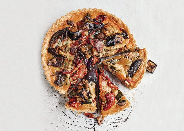 This recipe uses peppers, aubergine, onions and tomatoes to create a delicious veggie tart