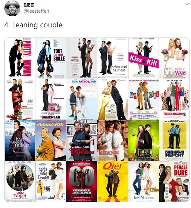 When it came to romantic comedies, Lee noticed the 'leaning couple' pose continued to make an appearance. Pretty Woman, Two Weeks Notice and Bride Wars all featured in the collage