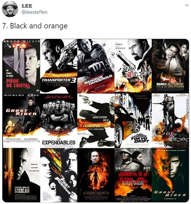 Also making it onto the list was the 'black and orange' poster which has been used to promote films such as The Expendables and Ghost Rider