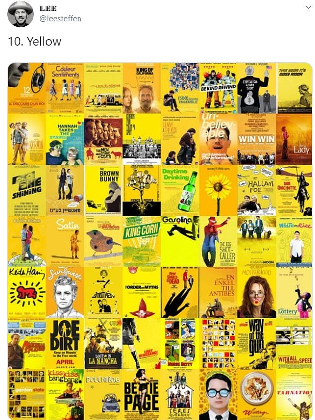 Lee spotted that yellow was that featured in a wide range of movie posters, from The Shining to Motherhood