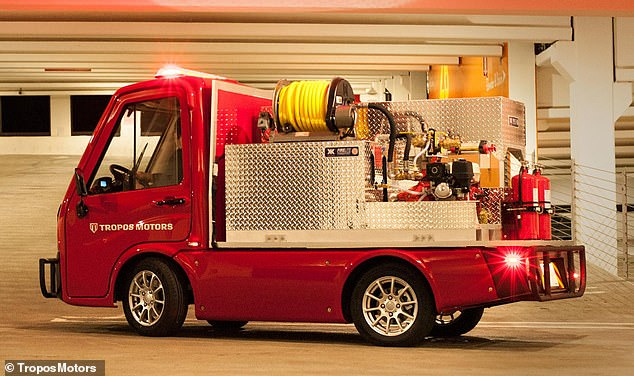 It seems electric fire trucks are the way of the future, as a different model made its debut at the Consumer Electronics Show in January – however it is much smaller than the one heading for California. The tiny ABLE fire response vehicle, pictured, is the product of a collaboration between Panasonic and US-based electric vehicle firm Tropos Motors