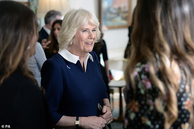 The Duchess of Cornwall is pictured during a reception for the 15th anniversary of the domestic abuse charity SafeLives, at Clarence House in London yesterday