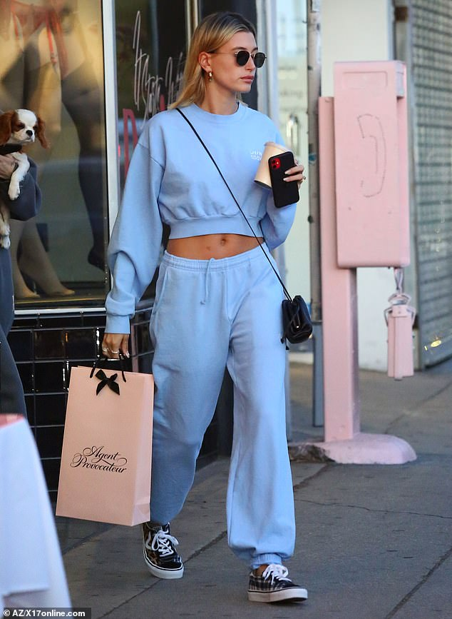 Racy attire: Hailey Bieber, 23, purchased something other than her usual sweats after making a stop at the lingerie shop Agent Provocateur in Hollywood on Wednesday