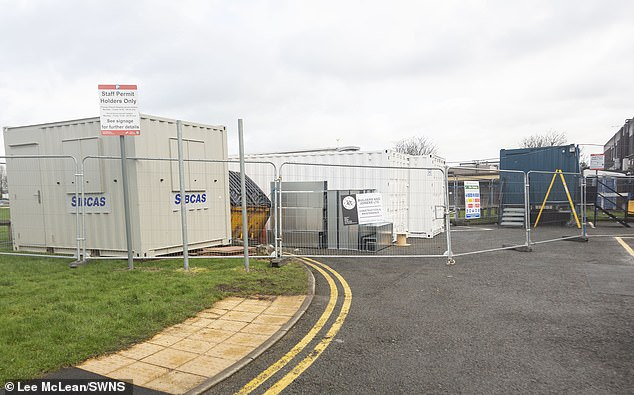Metal pods at Royal Preston Hospital in Lancashire. Similar structures have been used at other hospitals to serve as coronavirus treatment units