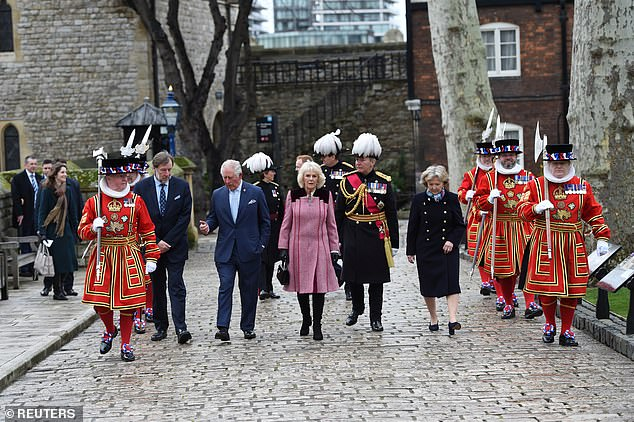 Prince Charles and Camilla, Duchess of Cornwall visit the Tower of London in London
