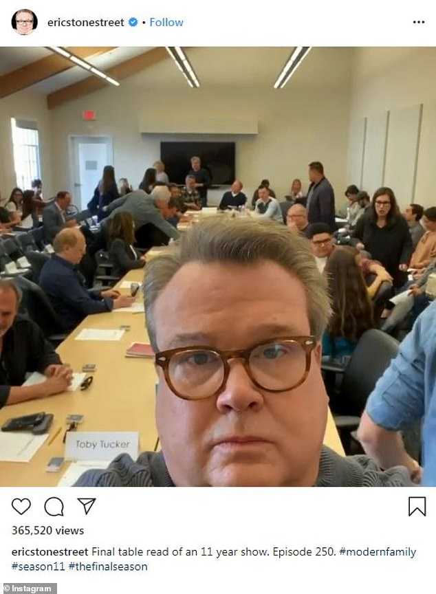 11 seasons strong: The cast of Modern Family emotionally documented their final table reading with teary eyes and heart-warming goodbyes on Wednesday ahead of the April series finale
