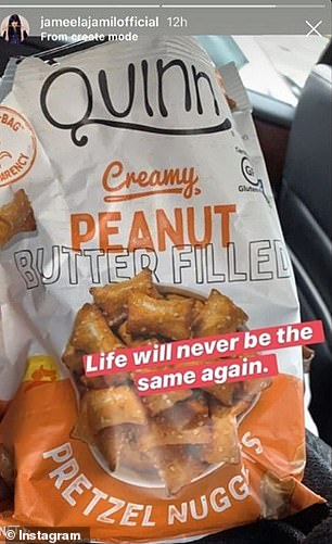 Jameela shared this post on Instagram raving about Quinn peanut butter filled pretzel nuggets