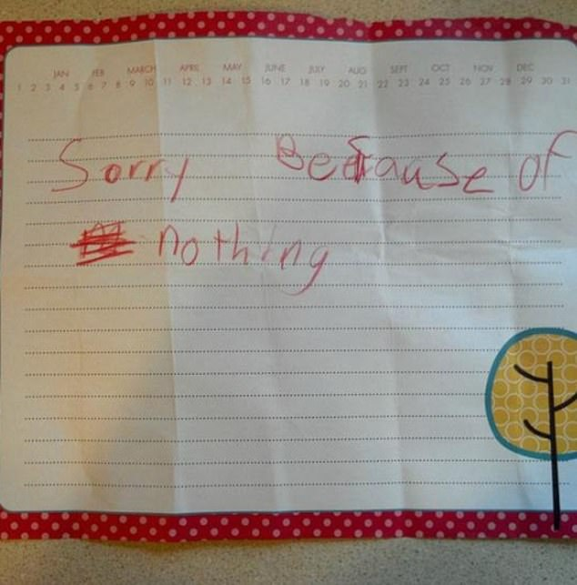 Sorry not sorry! This child, from an unknown location was adamant that they had not done anything wrong int heir apology letter