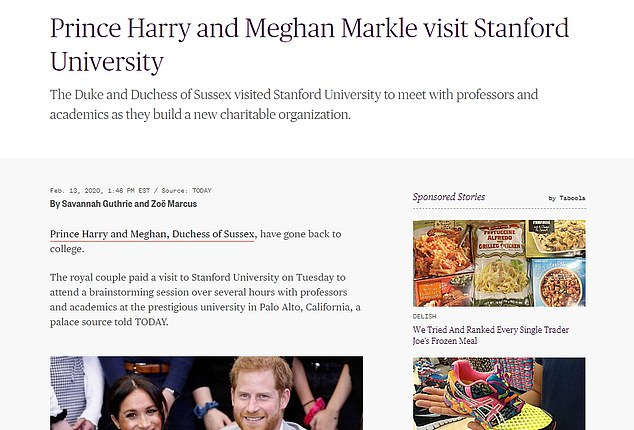Hint hint? Today host Savannah Guthrie was given a byline on the story about Meghan and Harry's visit to Stanford, which could mean she is hoping to secure an interview with them