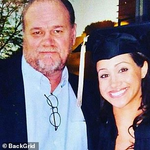 Way back when: Meghan graduated from Northwestern University in Illinois. She is pictured at her graduation ceremony with her father Thomas Markle, from who she is now estranged