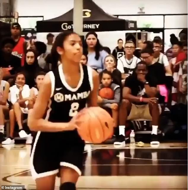 Aspiring: Gianna showcased impressive basketball skills in a video shared by Vanessa on Monday that celebrated her late husband and daughter's bond on the court