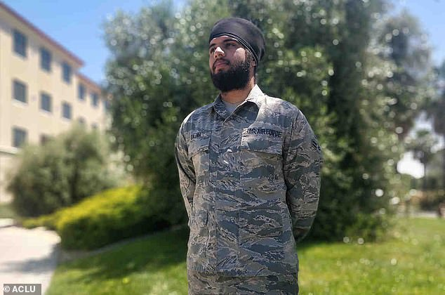 The Air Force has previously granted religious exemptions on a case-by-case basis. Last year, Airman Harpreetinder Singh Bajwa (above) became the first airman to get an exemption