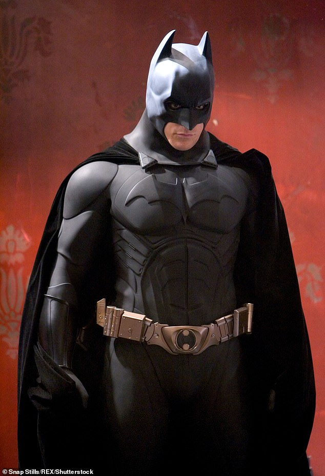 There's also a cape with scalloped edges to resemble the wings of a bat, gloves, boots and a utility belt. Pictured: Christian Bale in 2005's Batman Begins