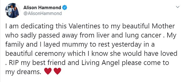 Missing her: Alison shared this message on Valentine's Day as she paid tribute to her beloved mother