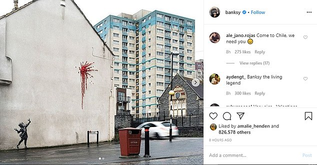 In the early hours of this morning Banksy confirmed the new street art on the side of a house in Bristol was his handy work by posting images of the street art on his Instagram page and website