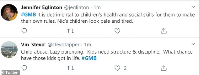 Viewers quickly slammed the method, with one tweeting: 'What about when these children are older and have to go to work? No qualifications. No routines. No discipline. Lazy. Poor kids don't stand a chance.'
