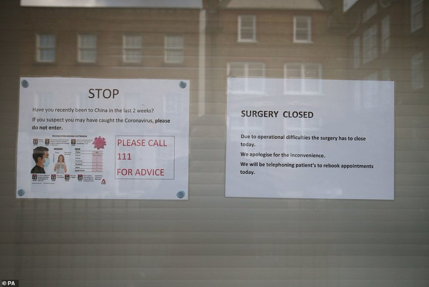 Pictured: Signs on the door of the Ritchie Street Health Centre, Islington, north London, which has been closed 'due to operational difficulties'
