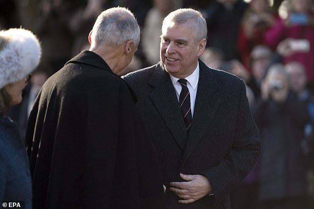 In November it was reported the monarch has scrapped plans to host a party for Prince Andrew (pictured last month at church in Norfolk) to mark his 60th birthday in the wake of the Jeffrey Epstein scandal