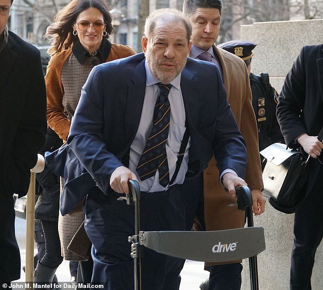 Harvey Weinstein arrives at court in New York on Friday to hear the prosecution's closing arguments in his rape trial