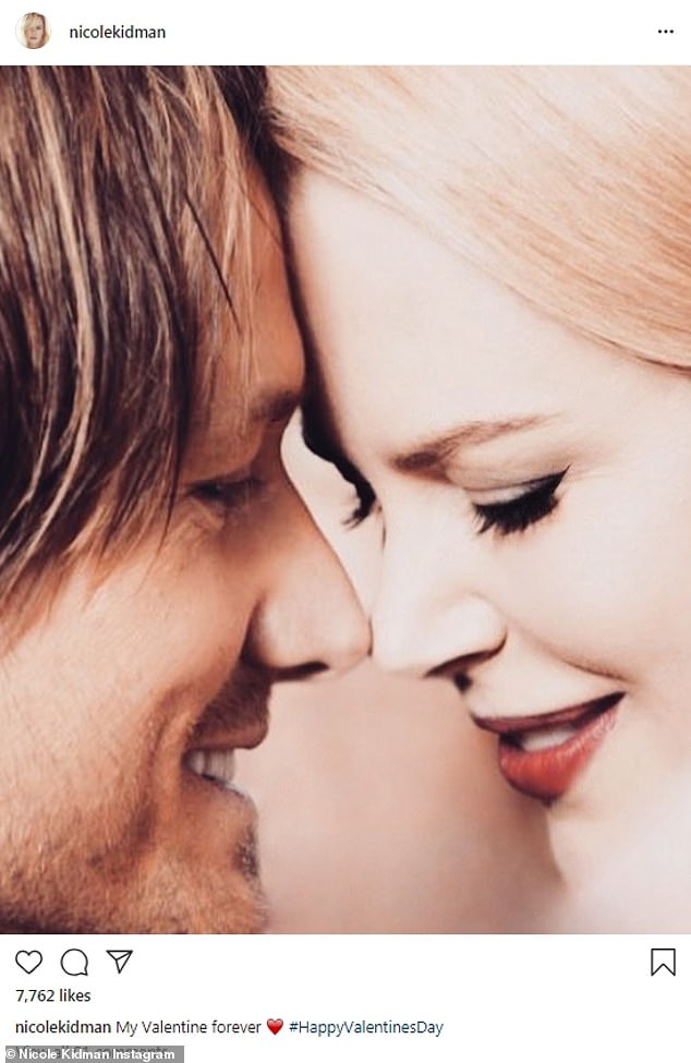 That loving look:Nicole Kidman shared an up close photo where she was leaning her forehead on her husband Keith Urban's. She was made up with red lips and black wing liner as she looked down and smiled