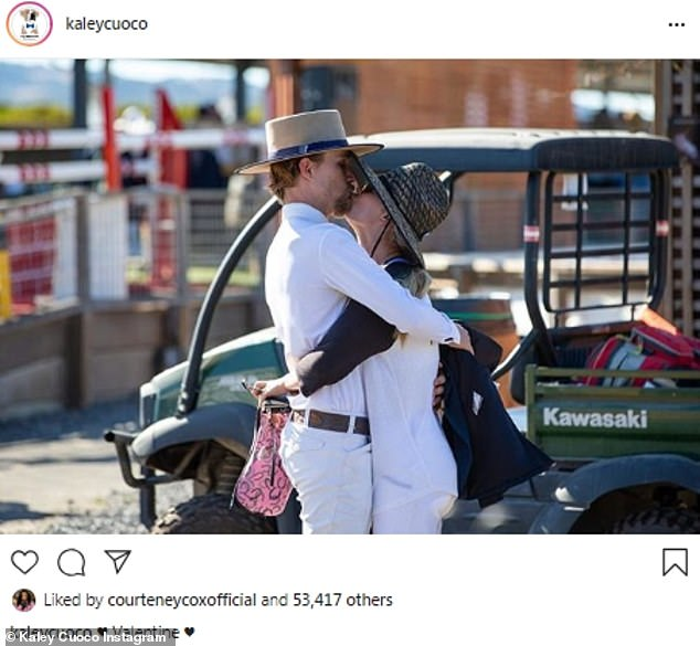 With her spouse:Kaley Cuoco of The Big Bang Theory shared an image where she was kissing her husband Karl Cook, an equestrian