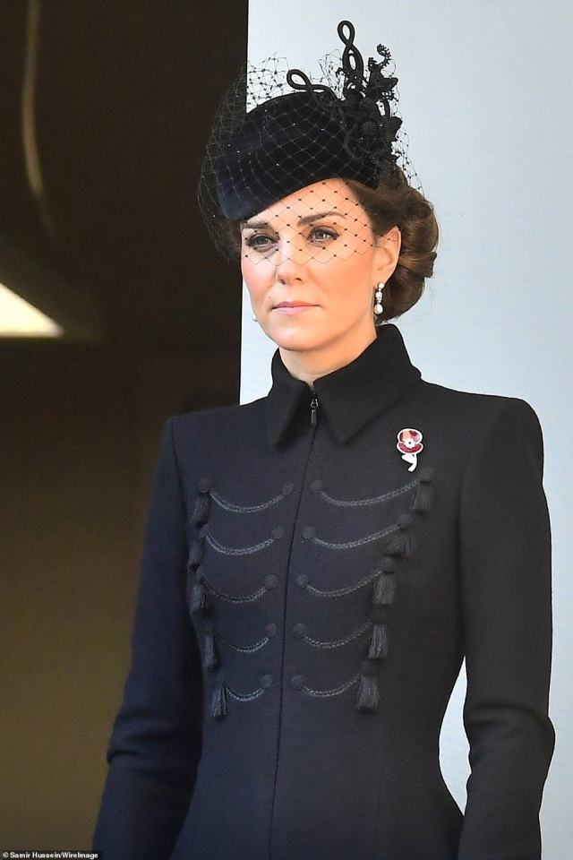 The Duchess of Cambridge paid tribute to her grandmother with a special 'Codebreakers poppy' in November 2019 , when she attended the wreath-laying service at the Cenotaph on Remembrance Sunday