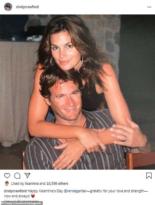 They way they were: Married couple Cindy Crawford and Rande Gerber looked happy in this flashback photo. Together they have daughter Kaia, who is a supermodel, and son Presley, who just got a face tattoo that reads Misunderstood