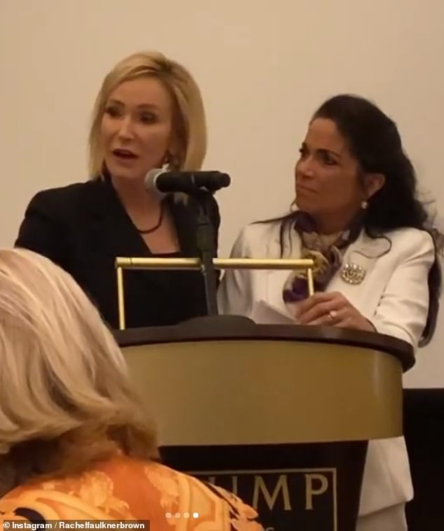 White, pictured with activist Yvonne Florczak¿Seeman, made remarks during the reception, gushing about her decades-long friendship with the president