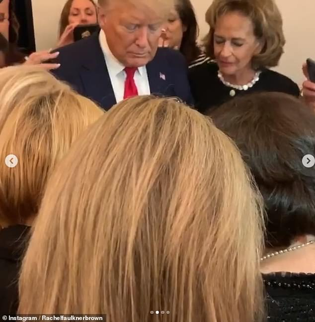 President Donald Trump made an unexpected appearance Wednesday at his Trump International Hotel in D.C. where evangelical women prayed over him