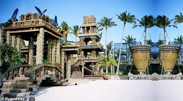 TheMayan-style property boasts 12 cabanas, an aquarium, helipad and casino