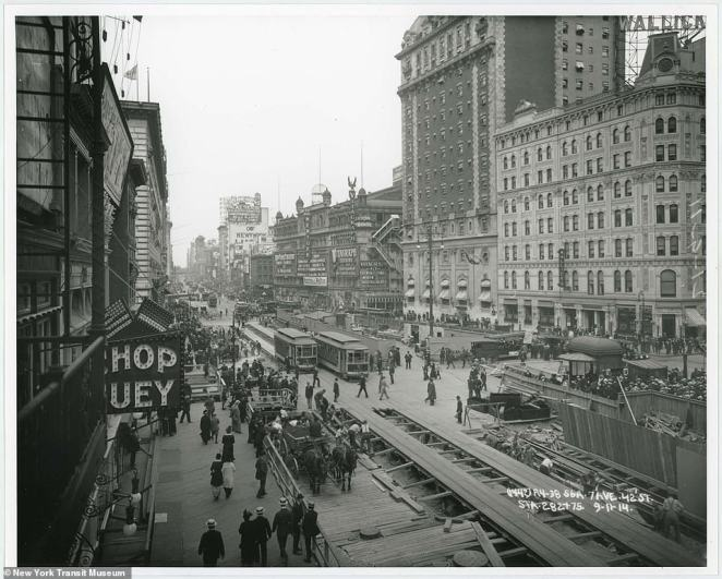 7th Avenue and 42nd Street in Manhattan, 1914. The Manhattan Main Line was first completed in 1904 and ran from City Hall downtown, along 42nd Street before finishing at 145th Street in Harlem uptown