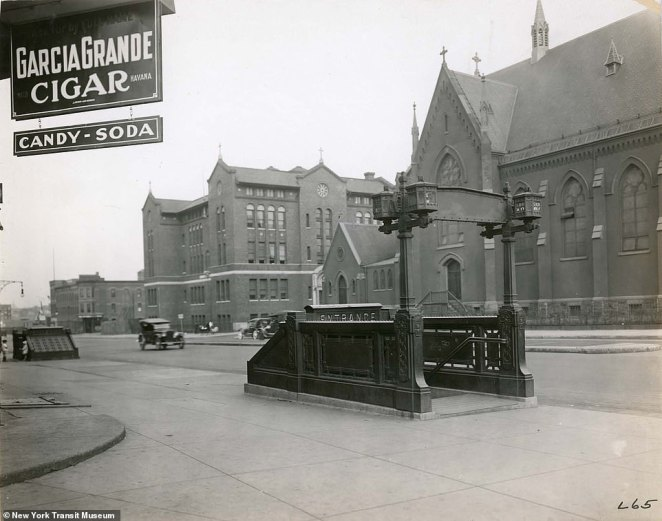 9th Street subway entrance in Brooklyn, 1910. While the Interborough Rapid Transit Company expanded throughout Manhattan, the Brooklyn Rapid Transit Company owned a monopoly on all the mass transit tracks in Brooklyn