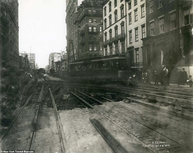 17th Street and 4th Avenue in Manhattan, 1902. John McDonald, the contractor responsible for overseeing the construction of the first subway line faced a variety of obstacles throughout the process. Water, gas, electrical and sewer lines had to be rerouted in addition to the special taken to avoid underground rooms like basements and bank vaults. Notably, the Columbus Circle monument proved to be exceptionally difficult.