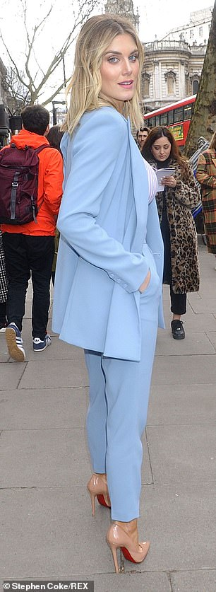 So chic:The former Made in Chelsea star carried a small bag in the same shade and boosted her height in a pair of nude Louboutin court shoes