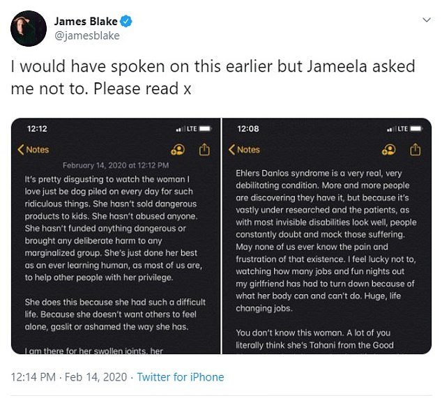 Blake has been silent on the abuse but finally posted a long message to Twitter on Friday