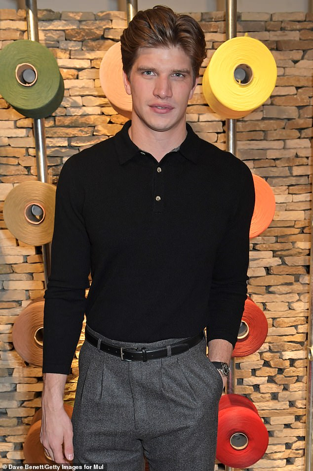 Simple and chic: Personal trainer Toby Huntington-Whiteley cut a dapper figure in a high-waisted trouser and black polo, he is the brother of supermodel Rosie Huntington-Whiteley