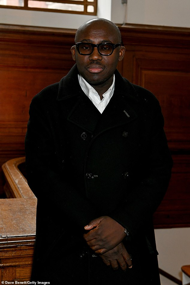Sharp:Editor-In-Chief of British Vogue Edward Enninful kept things simple in a black coat