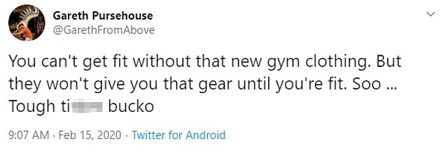 Hours after Harwick died and before his arrest, Pursehouse, who is active on Twitter, posted messages on the site.'You can't get fit without that new gym clothing,' he wrote at 9:07am on Saturday. 'But they won't give you that gear until you're fit. Soo … Tough t***ies bucko.'