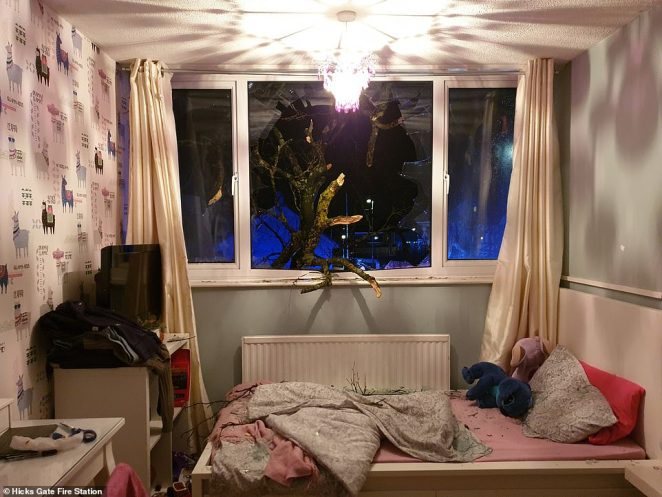 A schoolgirl was in her bedroom in Hanham, Bristol, when a tree came crashing through her window during Storm Dennis yesterday, she was treated for minor injuries and four people were evacuated from the block