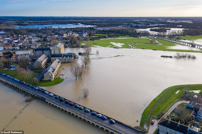 The River Ouse burst its banks over the weekend, leaving large swathes of the Cambridgeshire market town of St Ives underwater