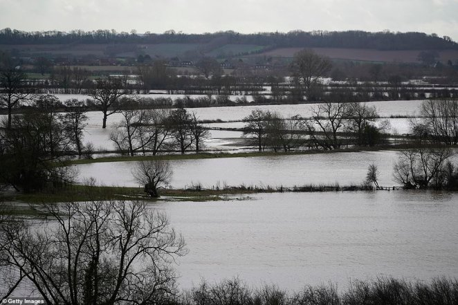 Flooded fields are pictured near Marden, Herefordshire, on Monday in the aftermath of Storm Dennis