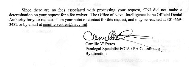 The FOIA response letter above revealed that Office of Naval Intelligence has 'TOP SECRET' briefing slides and 'SECRET' video related to the 2004 USS Nimitz carrier group encounters