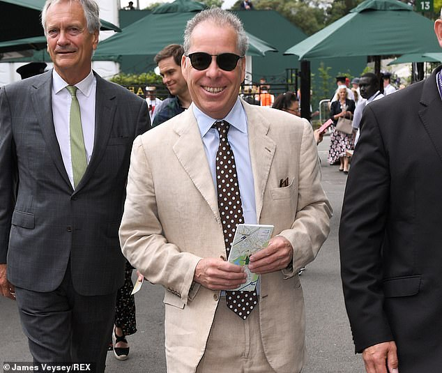 A smiling David Armstrong-Jones at the Wimbledon Tennis Championships on Day 11, 12 July 2019