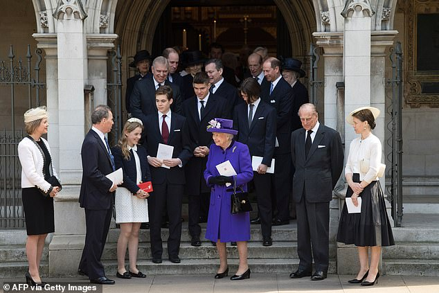 Britain's Queen Elizabeth II (C) along with (front row L-R) Serena Armstrong-Jones, Countess of Snowdon, David Armstrong-Jones, 2nd Earl of Snowdon, known as David Linley, Lady Margarita Armstrong-Jones, Britain's Prince Philip, Duke of Edinburgh, and Lady Sarah Chatto leave after attending a service of thanksgiving in honour of the late British photographer Antony Armstrong-Jones, the former husband of Queen Elizabeth II's late sister Princess Margaret, better known as Lord Snowdon (1st Earl of Snowdon), David and Lady Sarah's father, at St Margaret's Church in London on April 7, 2017