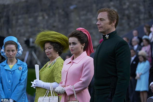 Pictured (left to right) Erin Doherty as the Princess Royal, Marion Bailey as Queen Elizabeth the Queen Mother, Helena Bonham Carter as Princess Margaret and Ben Daniels as Lord Snowdon